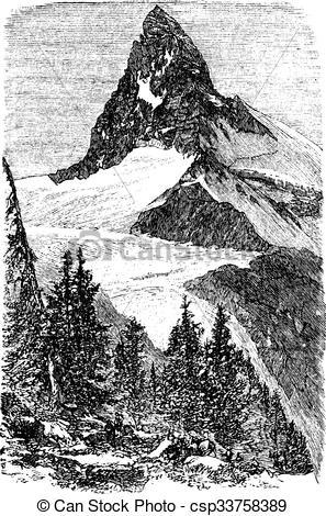 Vettore di incisione, monte, vendemmia, cervino, Zermatt, svizzera.