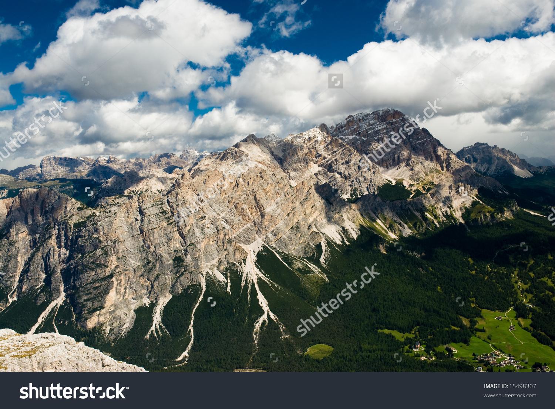 Scenic View Over Monte Cristallo Mountain Range, Cortina.