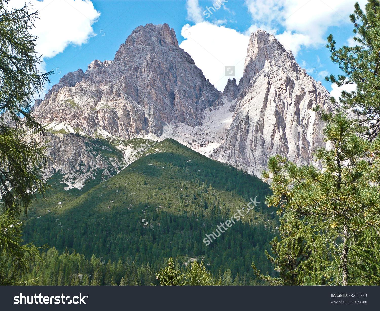 Monte Cristallo In The Dolomites (Cortina, Italy) Stock Photo.