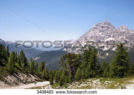 Stock Photo of View of Monte Cristallo, Venetia, Italy, elevated.
