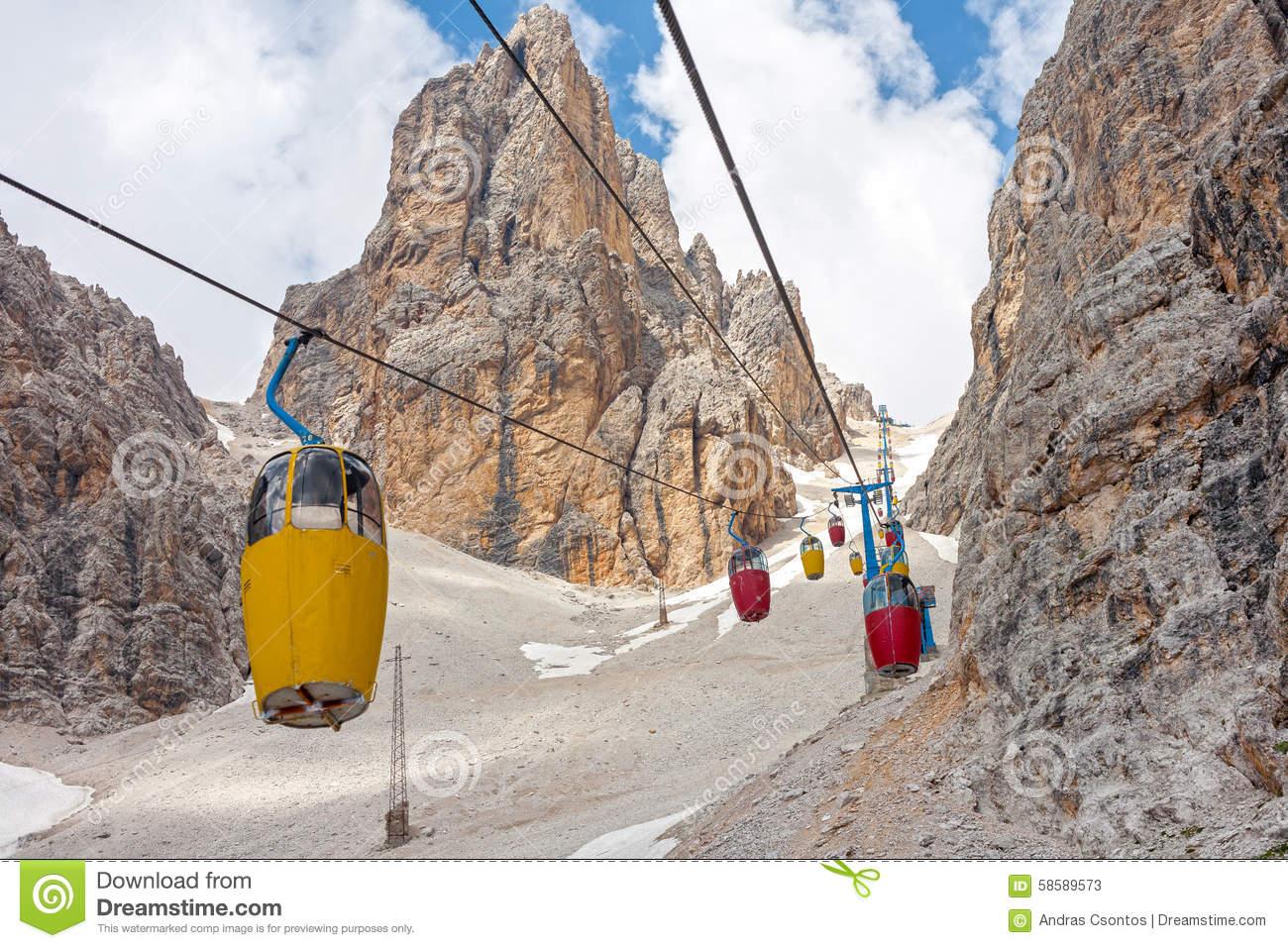 Cable Car At Monte Cristallo Massif Stock Photo.