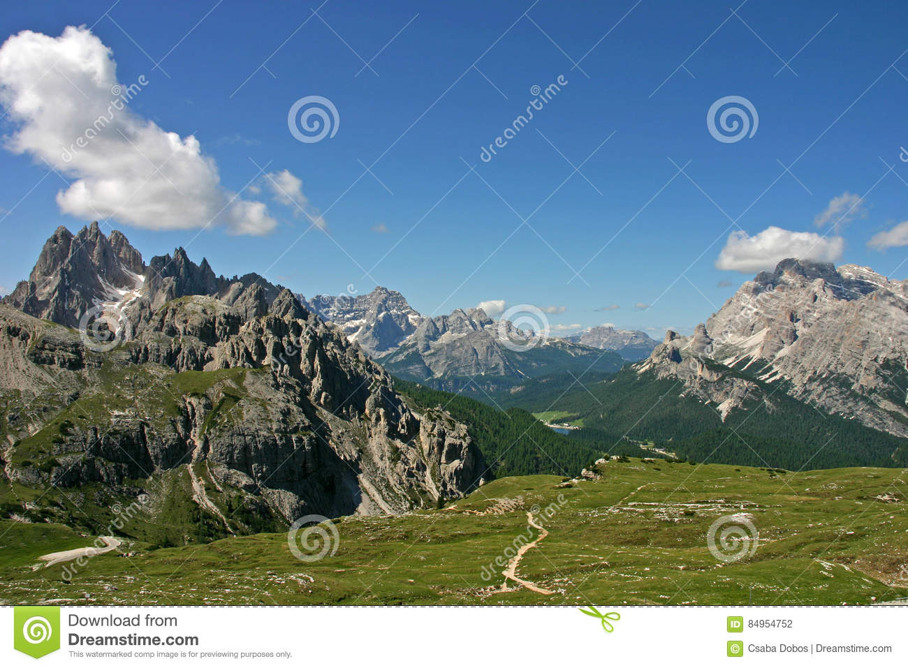 View Of Grupo Dei Cadini, Misurina, Monte Cristallo, Dolomites.