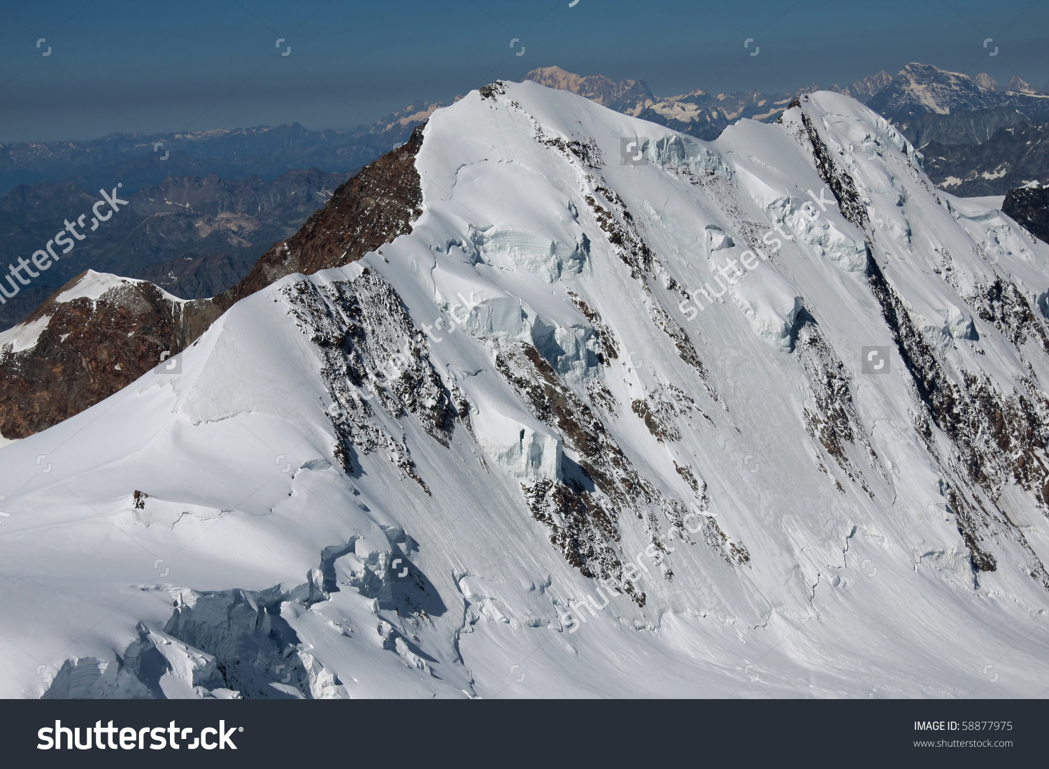 North Face Of Lyskamm From Capanna Margherita On Monte Rosa.