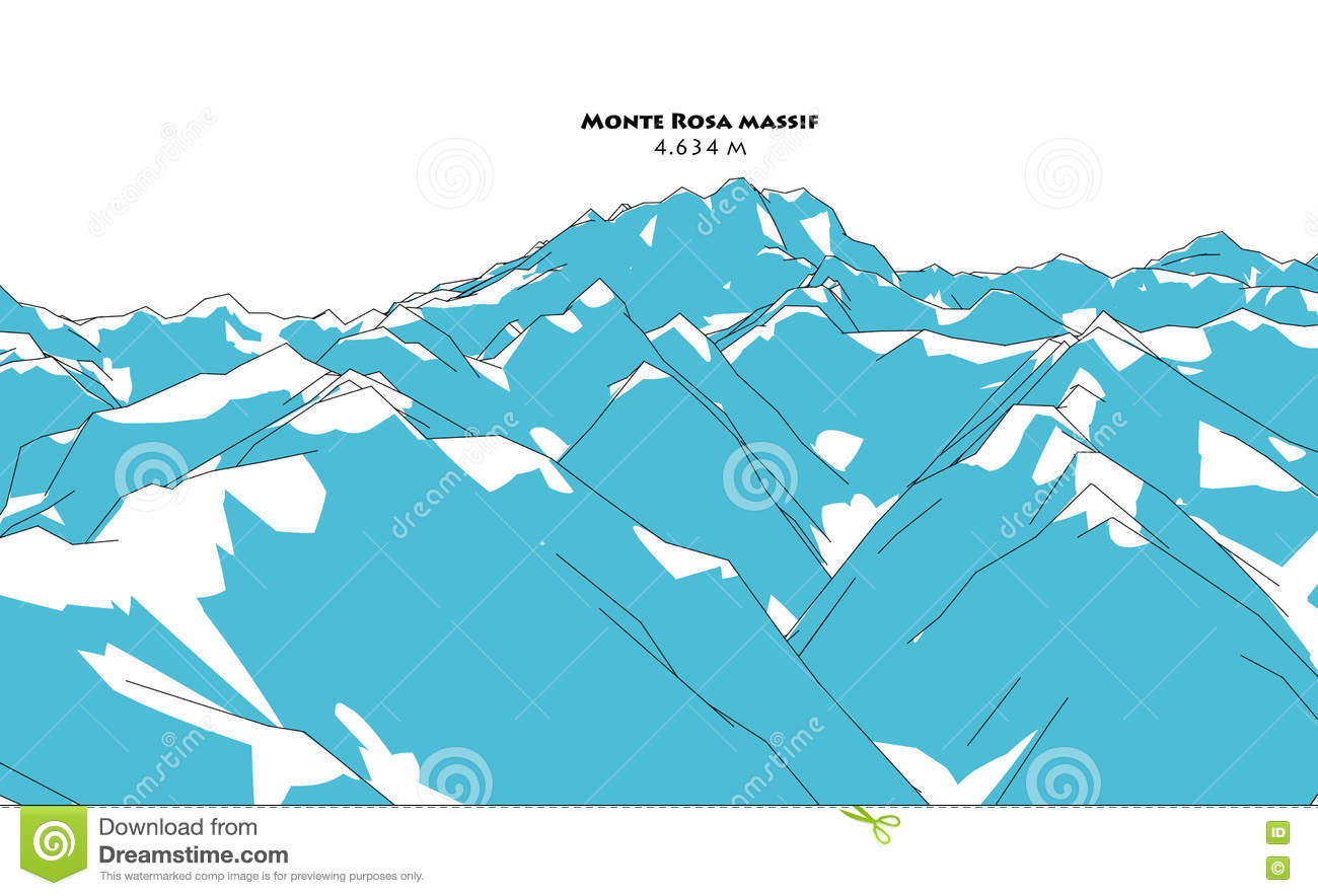 Monte Rosa Massif, Height Relief, Drawing Stock Illustration.