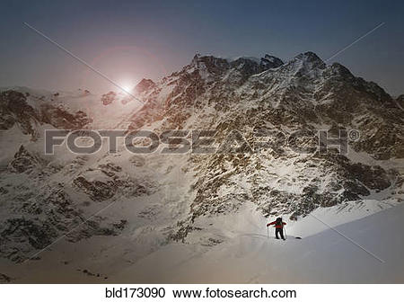 Stock Photography of Caucasian skier on Monte Rosa slope, Piedmont.