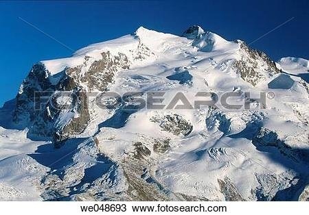 Stock Photo of Monte Rosa (Bergmassiv) Alpen Wallis. Switzerland.
