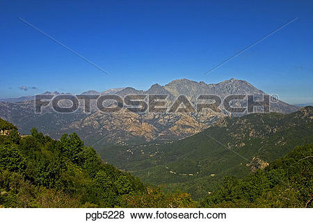 Pictures of Corsica. Monte d'Oro, 2389m, massif from the Col de.