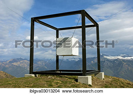 """Stock Photo of """"Artwork """"""""""""""""Suspended Cube"""""""""""""""" by the sculptress."""