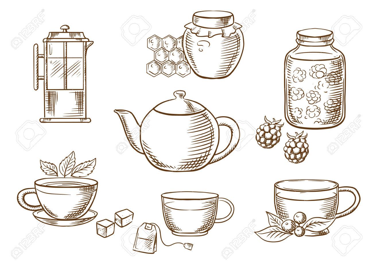 Icone Di Tè Tracciato Con Vasi, Miele E Marmellata Di Lamponi.