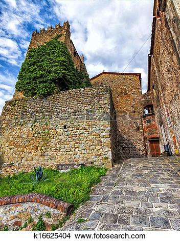 Stock Photo of Medieval Italy. Old tower in Montecatini Alto. (HDR.