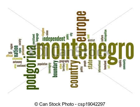 Stock Illustration of Montenegro word cloud csp19042297.