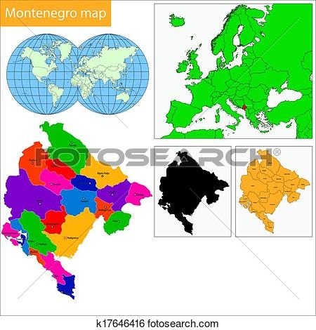Montenegro map clipart.