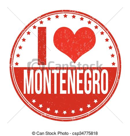 Vector Clip Art of I love Montenegro stamp.