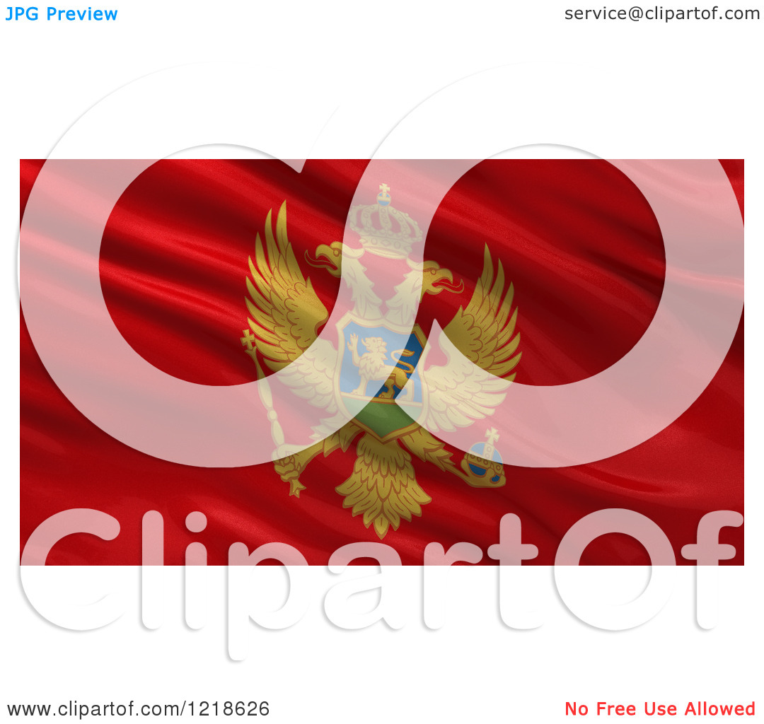 Clipart of a 3d Waving Flag of Montenegro with Rippled Fabric.