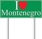 Clip Art of I love Montenegro, concept road sign k10959386.
