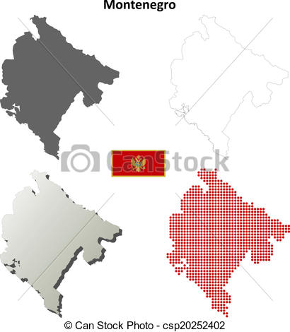 Vector Clipart of Montenegro blank outline map set.