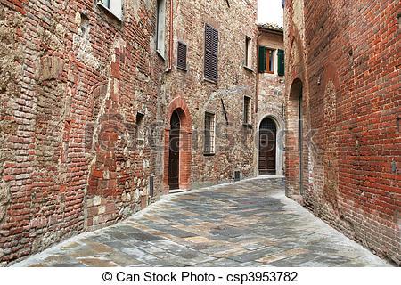 Stock Photo of Italy. Tuscany region. Montepulciano town. Medieval.