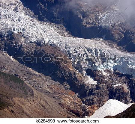 Stock Illustration of glacier of Monte Rosa (pink mountain.