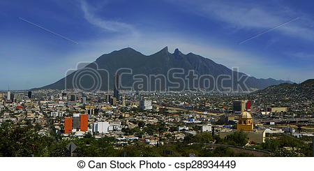 Stock Photo of Cerro de la Silla en ciudad de Monterrey.