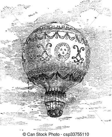 Vector Clip Art of Montgolfier Hot Air Balloon, vintage engraving.