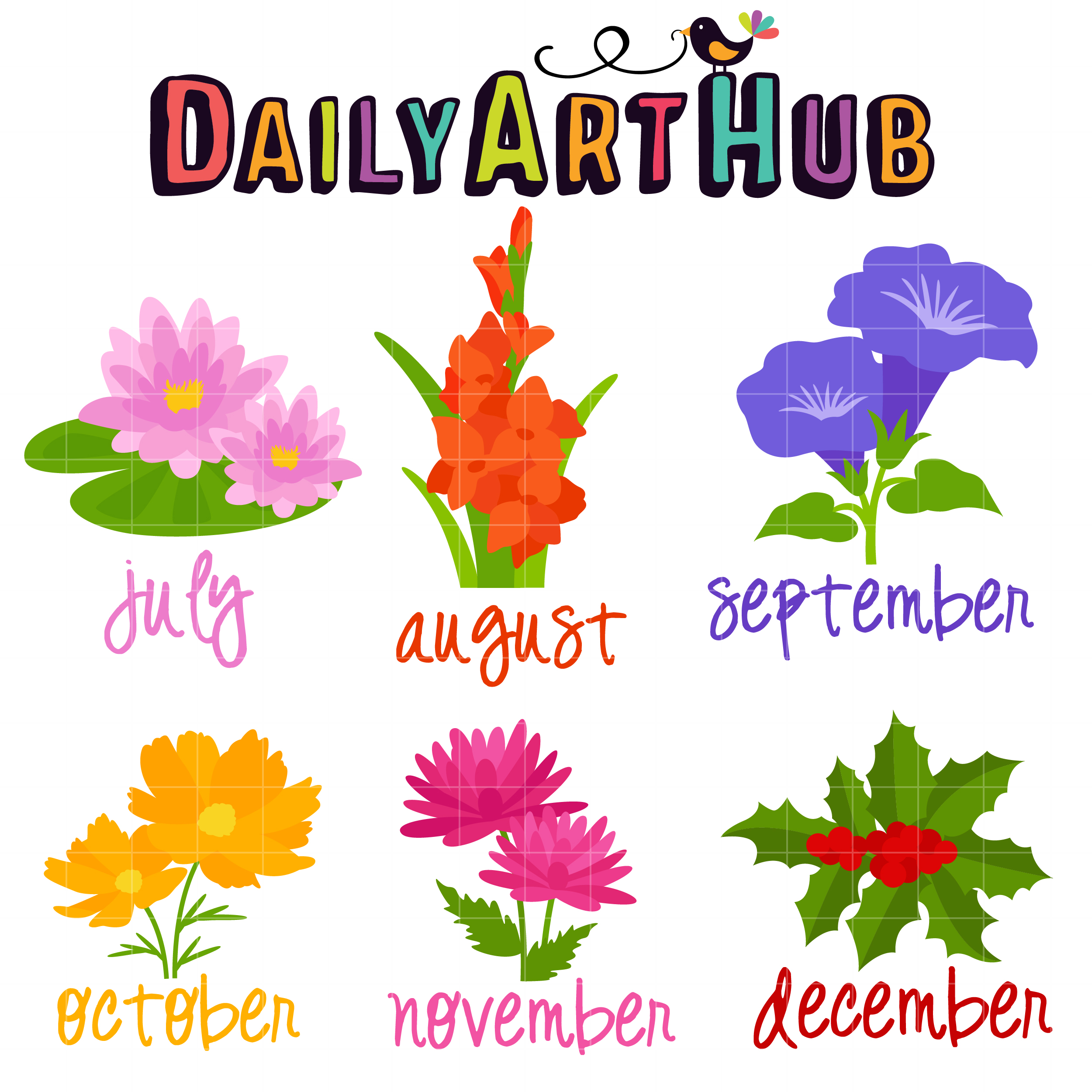 Flower of the Month Clip Art Set.
