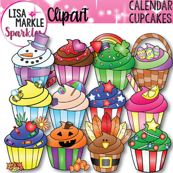 Seasons and Holidays Cupcake of the Month Clipart.