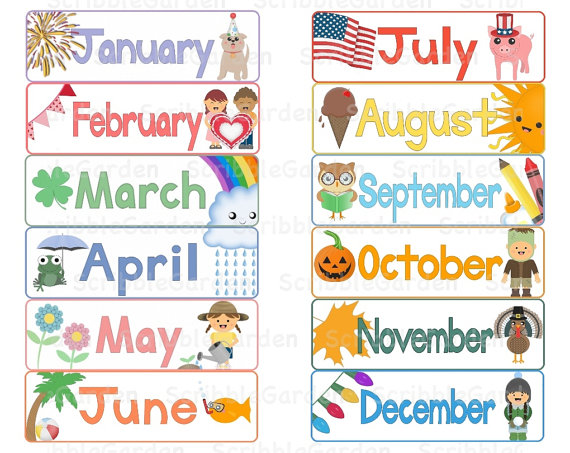 Month Names Clipart.