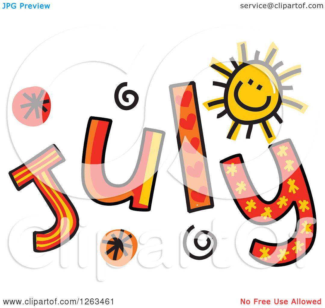 Clipart of Colorful Sketched Month of July Text.