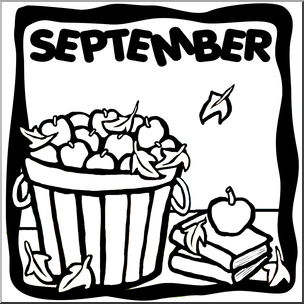 Clip Art: Month Graphic: September B&W I abcteach.com.
