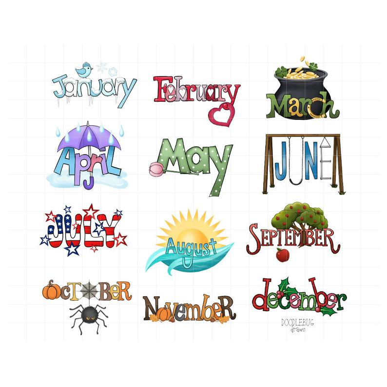 Month Name Digital Planner Stickers.