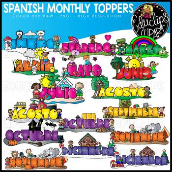 Spanish Monthly Calendar Toppers Clip Art Bundle {Educlips.