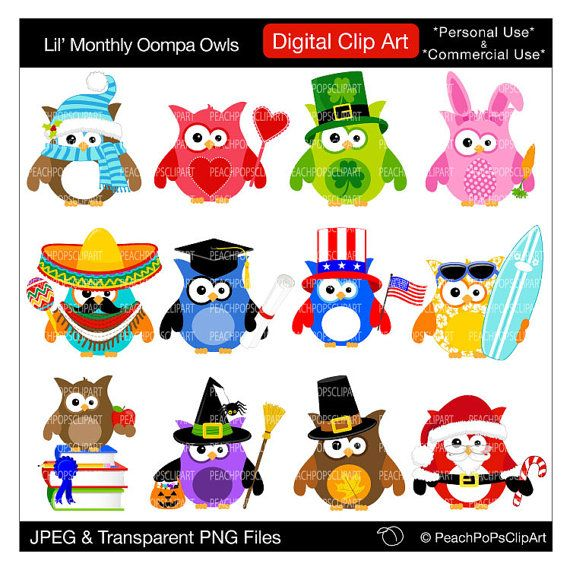 Owl Monthly Clipart.