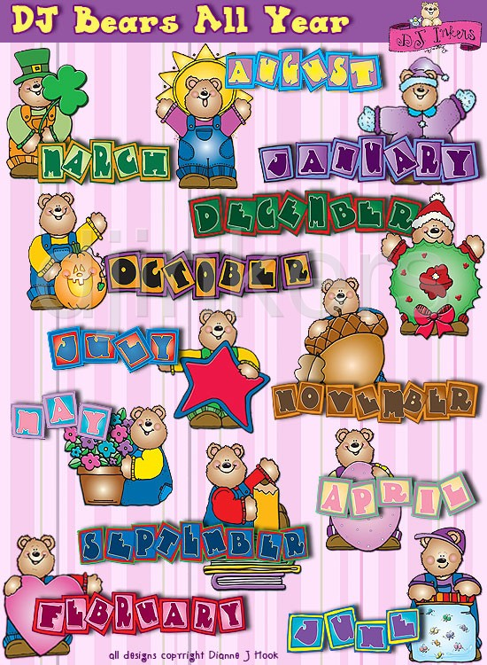 Clipart of the months of the year monthly.