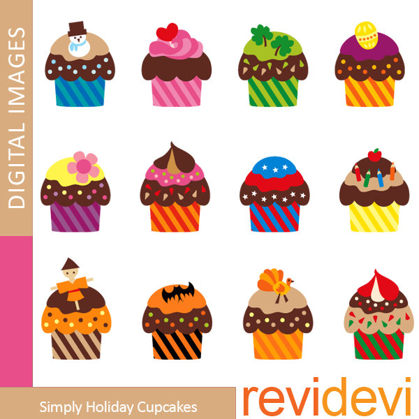 Monthly Cupcake Clipart.