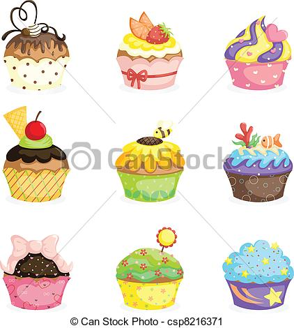 Vector Clip Art of Cupcakes.