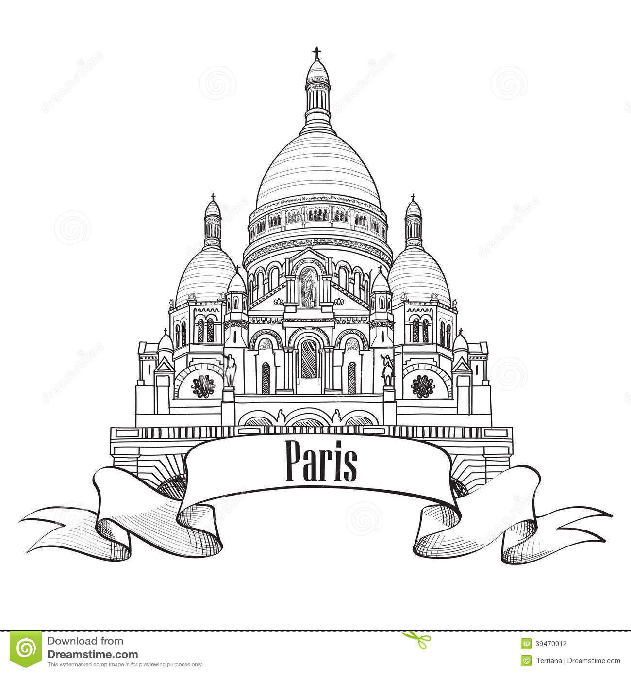 Sacre Coeur Cathedral On Montmartre Hill In Paris Stock Vector.