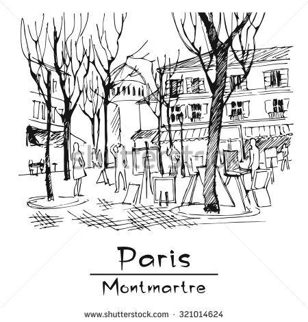 Paris. Montmartre. Place Du Tertre. Vector Image. Hand.