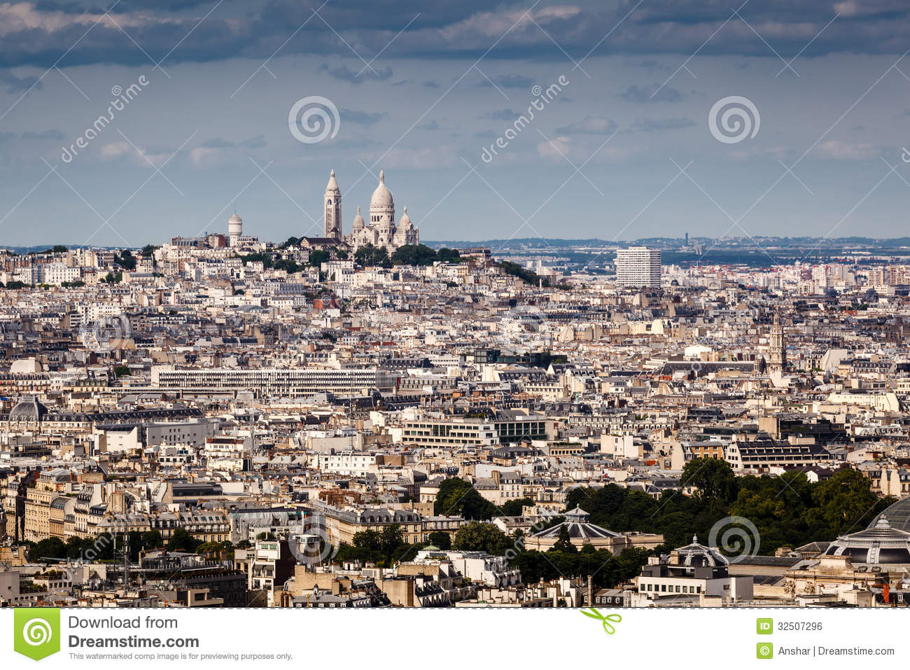 Aerial View On Montmartre Hill And Sacre.