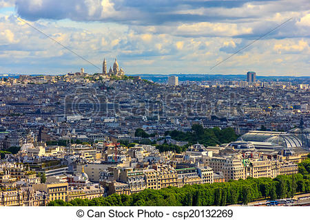 Stock Image of View of Paris, the hill Montmartre and the Sacre.