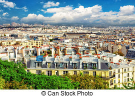 Stock Photo of Paris beautiful city view from Montmartre hill.