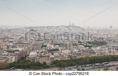 Stock Photography of Aerial View of Montmartre Hill fron Eiffel.