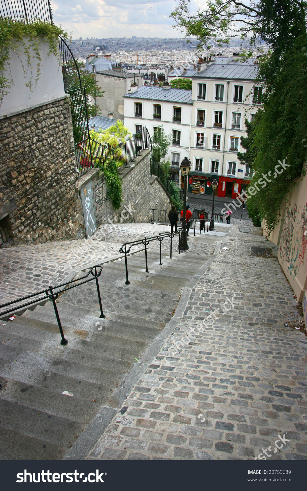 Staircase Down Montmartre Hill In Paris, France Stock Photo.