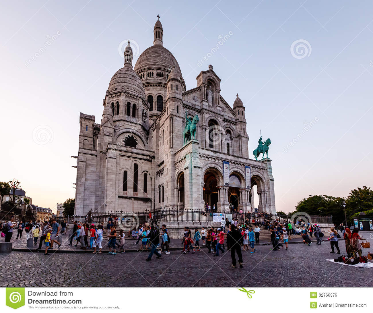 Sacre Coeur Cathedral On Montmartre Hill At Dusk, Paris, France.