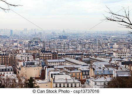 Stock Photography of skyline of Paris city from Montmartre hill.