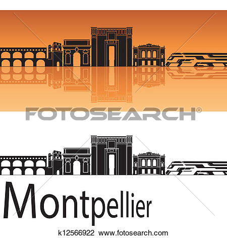 Clipart of Montpellier skyline in orange background k12566922.