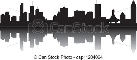 Clip Art Vector of Montreal skyline.