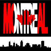 Drawings of Montreal skyline with flag text k4018414.
