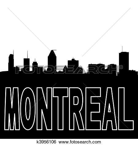 Stock Illustration of Montreal skyline black silhouette on white.
