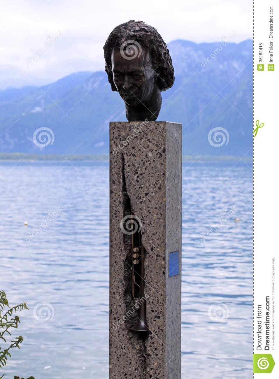 Statue Of Miles Davis In Montreux, Switzerland Editorial Image.
