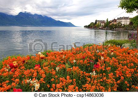 Stock Photos of landscape with flowers and Lake Geneva, Montreux.